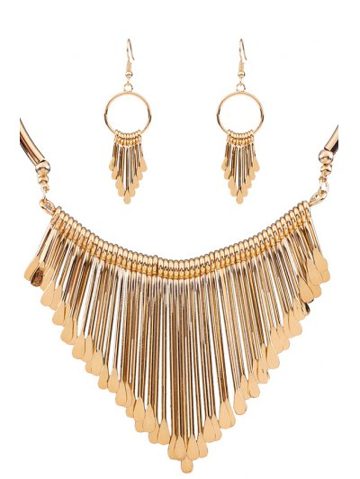 Alloy Tassel Necklace And Earrings - Golden
