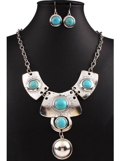 Turquoise Ethnic Necklace and Earrings от Zaful.com INT