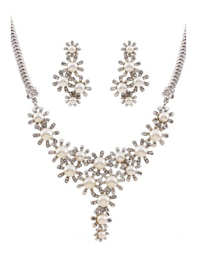 Faux Pearl Flower Necklace and Earrings от Zaful.com INT