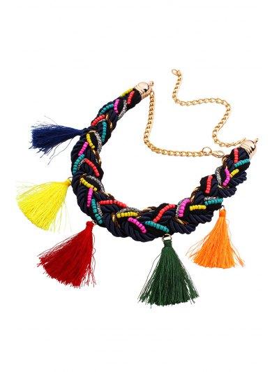Ethnic Style Tassel Beads Necklace - Golden