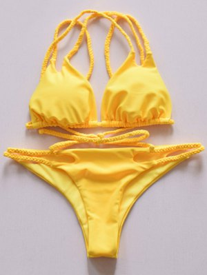 Yellow Spaghetti Strap Bikini Set