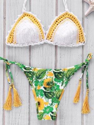 Printed Crocheted Bikini Set - White