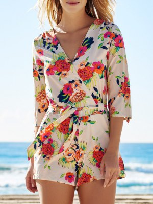 Cross-Over Floral Print Belted Playsuit