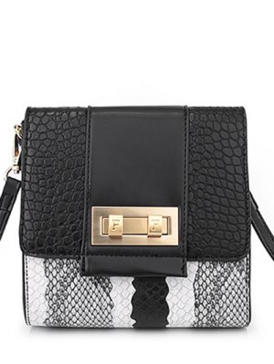 Snake Print Metal Color Block Crossbody Bag - Black