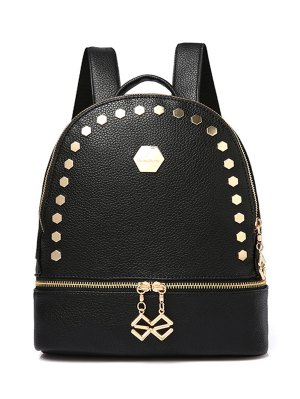 Solid Color Metallic Zips Satchel - Black
