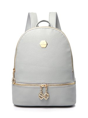 PU Leather Zips Solid Color Satchel - Gray