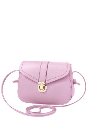 Solid Color Push Lock Crossbody Bag - Pink
