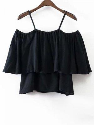 Flounce Cami Cold Shoulder Blouse - Black