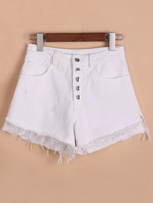 Button Fly Ripped Rough Selvedge Denim Shorts - White
