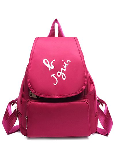 Zip Letter Print Nylon SatchelAccessories<br><br><br>Color: ROSE