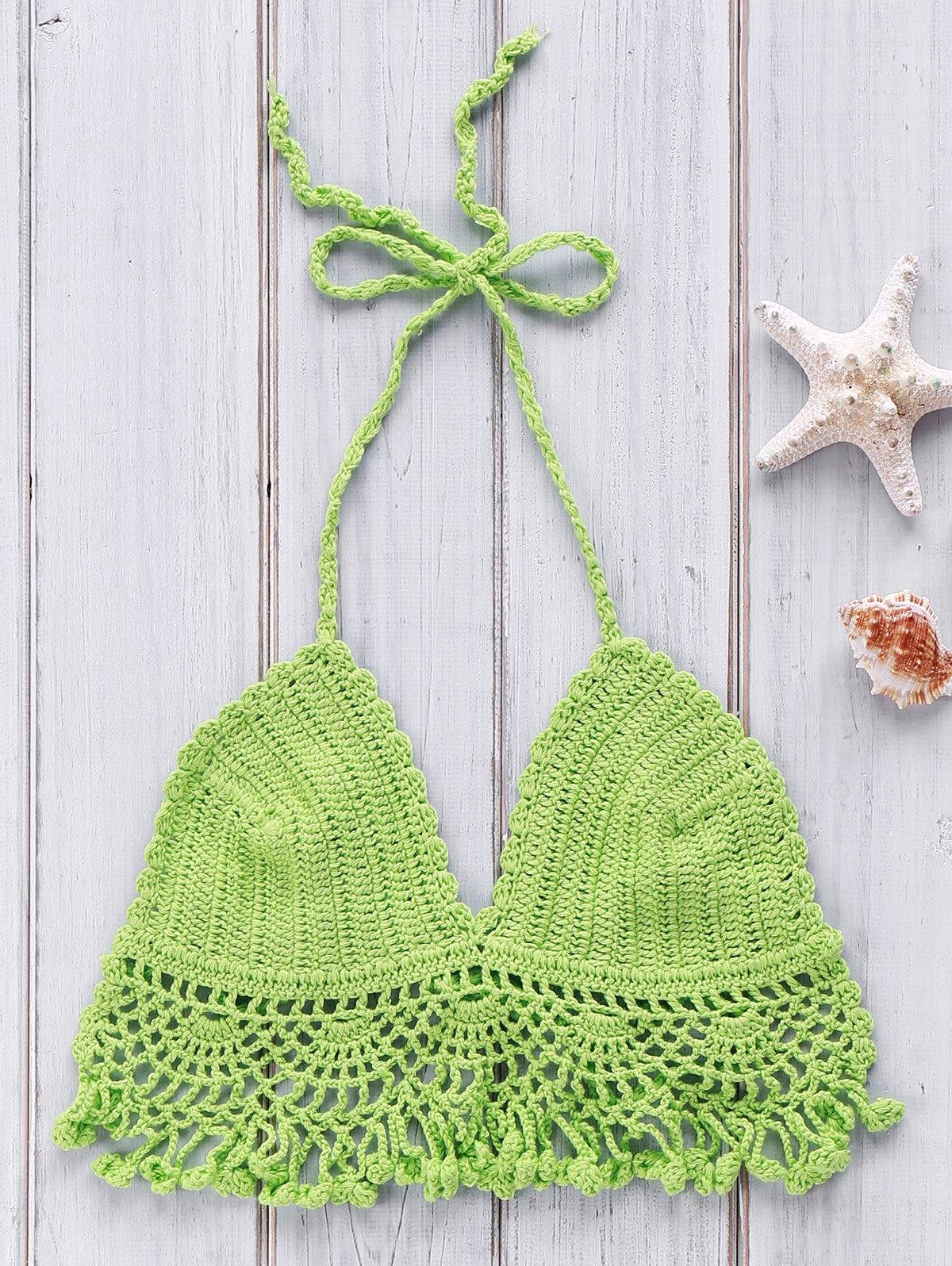 Halter Solid Color Crochet Hollow Bikini Top