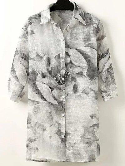 Turn Down Collar Half Sleeve Ink Floral Shirt