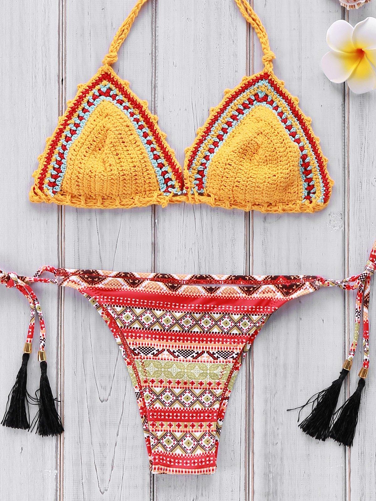 Crocheted Geometric Print Bikini Set