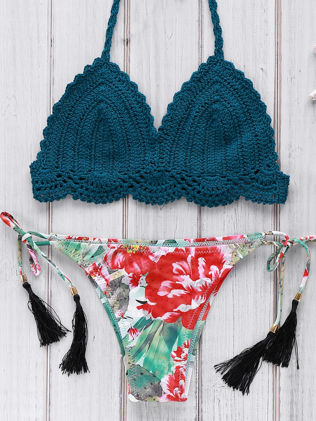 Halter Crocheted Printed Bikini Set