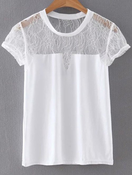 See-Through Round Neck Short Sleeve Lace Spliced T-Shirt