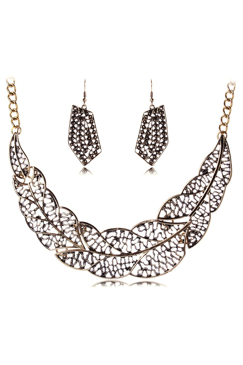 Hollow Out Leaf Necklace and Earrings For Women