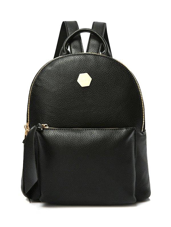 PU Leather Zips Black Satchel