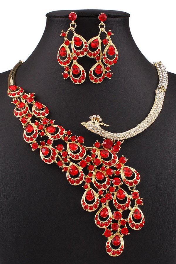 Faux Ruby Peacock Necklace and Earrings