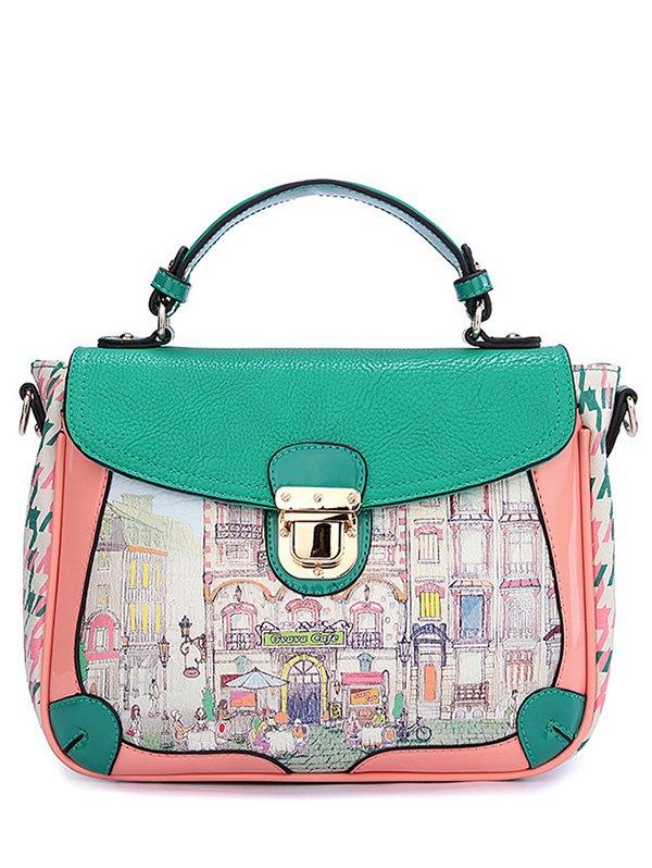 Print Color Block Push Lock Tote Bag