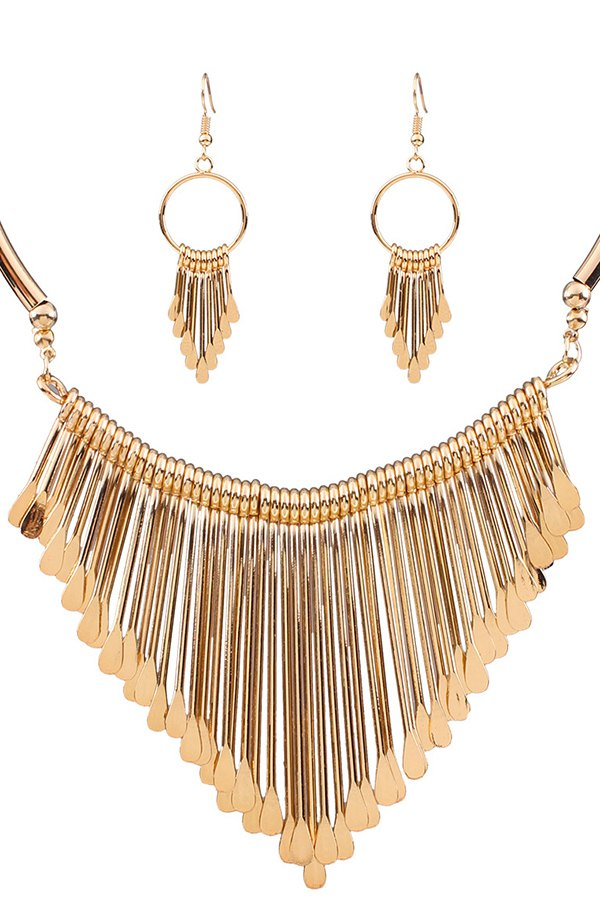 Alloy Tassel Necklace and Earrings For Women