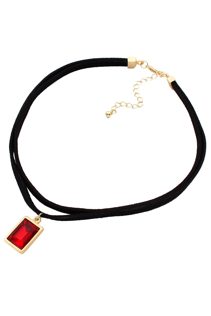 Faux Gem Black Double Necklace