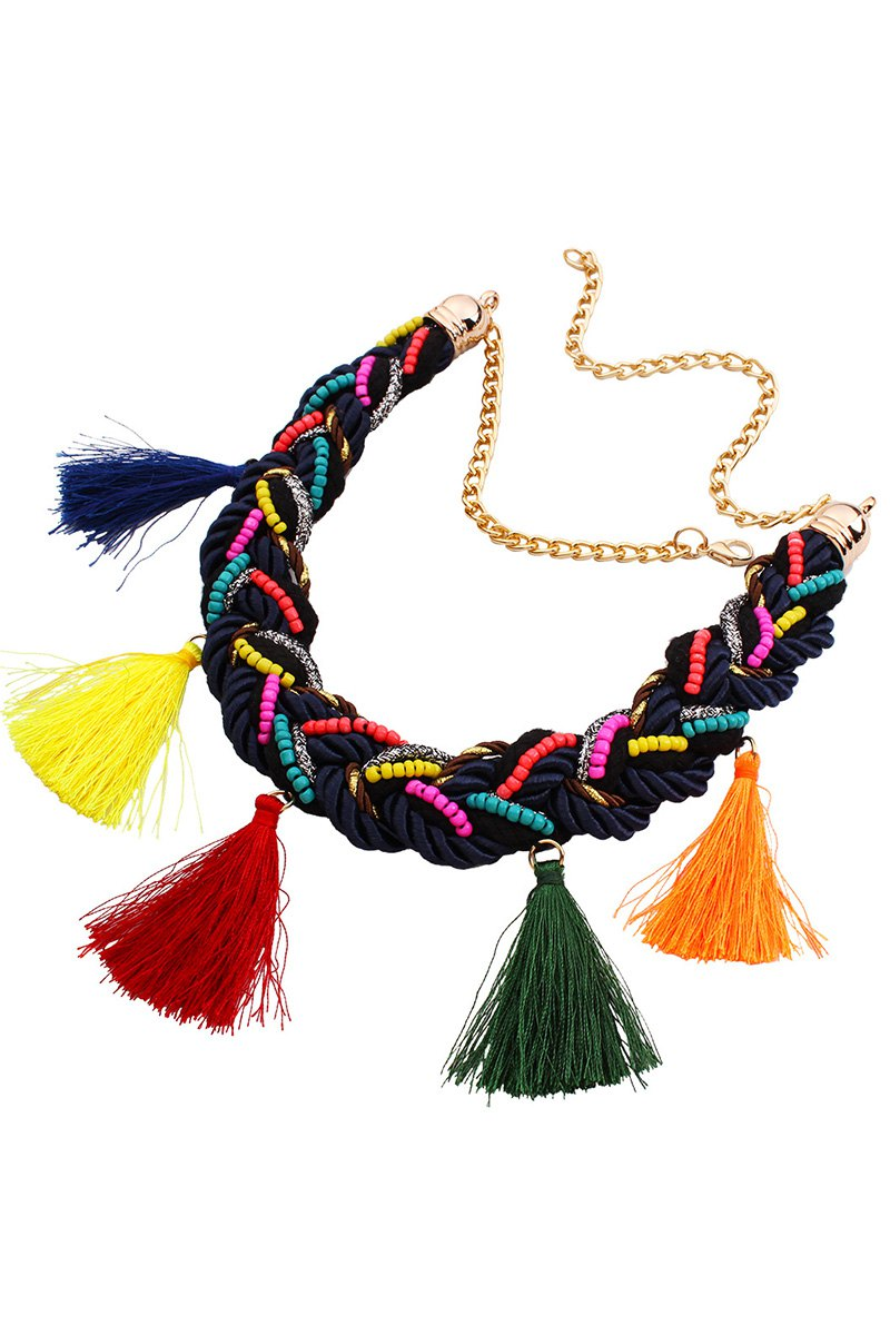 Ethnic Style Tassel Beads Necklace For Women