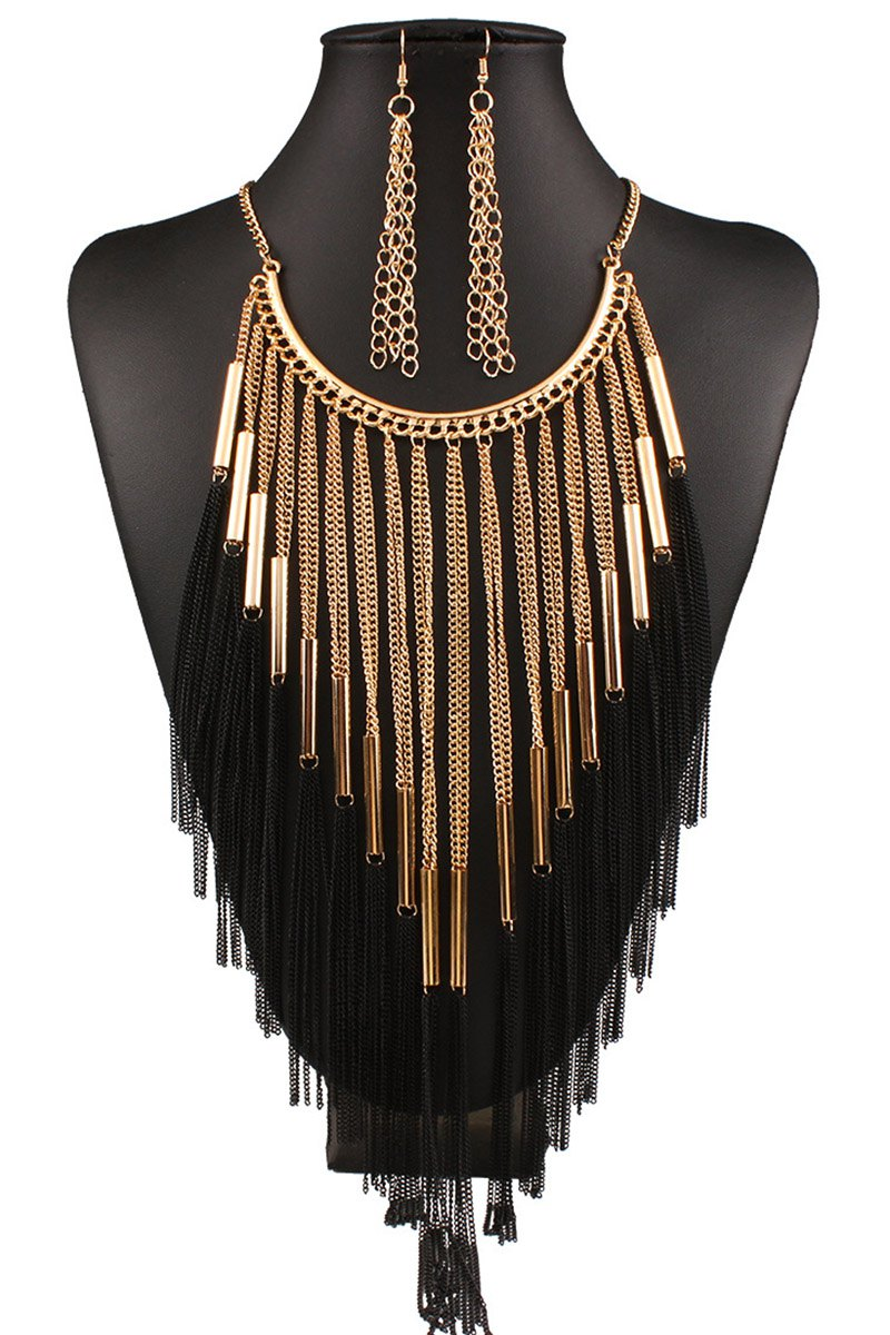 Long Tassel Necklace and Earrings
