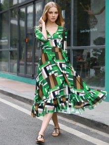 Patchwork Pattern Swingy Midi Dress - COLORMIX XL