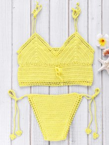 Crocheted Spaghetti Straps Bikini Set