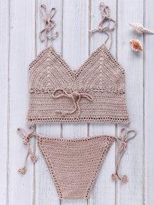 Crocheted Spaghetti Straps Bikini Set - Camel