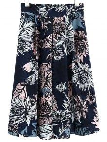 Full Floral High Waist Skirt - Cadetblue L