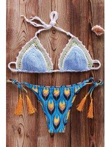 Printed Crocheted Bikini Set - Azure