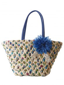 Weaving Flower Color Block Shoulder Bag - Blue