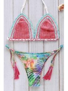 Printed Crocheted Bikini Set - Watermelon Red M