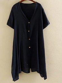 Irregular Hem V Neck Short Sleeve Coat - Purplish Blue Xl