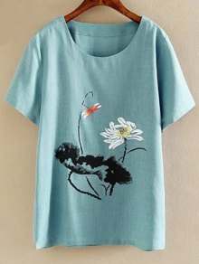 Plus Size Round Neck Short Sleeve Ink Lotus Print T-Shirt