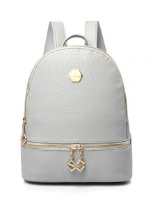 PU Leather Zips Solid Color Satchel