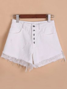 Button Fly Ripped Rough Selvedge Denim Shorts - White M