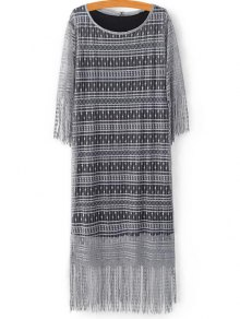 Black Scoop Neck Tank Top And Tassels Spliced Lace Dress Twinset - Light Gray M