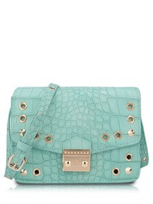 Eyelet Crocodile Print Candy Color Crossbody Bag