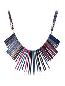 Multicolor Geometric Resin Necklace - Black