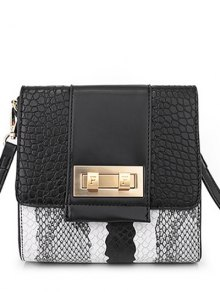 Snake Print Metal Color Block Crossbody Bag