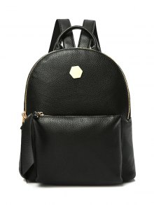 PU Leather Zips Black Satchel
