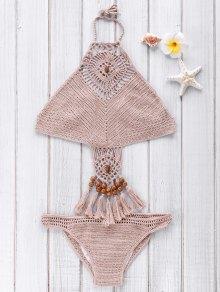 Crochet High Neck Openwork Bikini Set - Khaki L