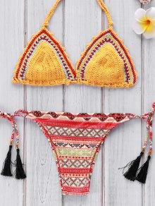 Geométrica de impresión de ganchillo Set Bikini