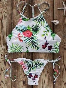 Flowers Print High Neck Bikini Set - White