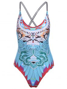 Alluring Spaghetti Strap Tribal Print Backless Women's Swimwear