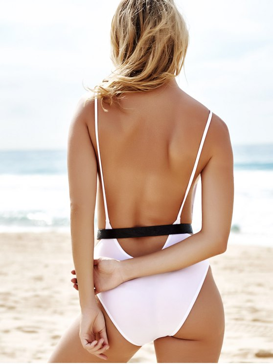 Monokini High Cut Backless One-Piece Swimwear - WHITE L Mobile