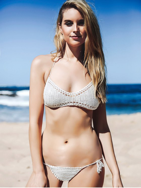 Halter Knitted White Bikini Set - WHITE ONE SIZE(FIT SIZE XS TO M) Mobile