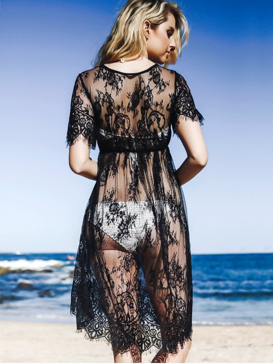 See-Through Round Neck Short Sleeve Lace Dress - BLACK L Mobile